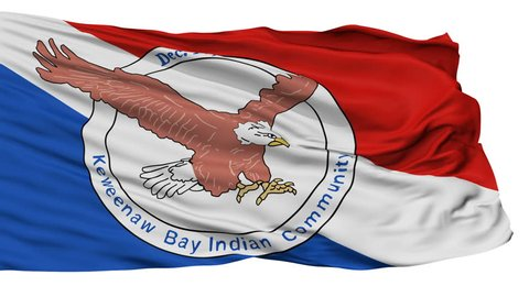 Keweenaw Bay Community Lanse Reservation Indian Flag, Isolated View Realistic Animation Seamless Loop - 10 Seconds Long
