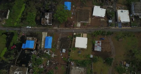 Aerial view Hurricane Maria is the worst natural disaster to affect Puerto Rico.