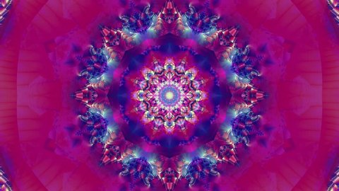 Blue kaleidoscope sequence patterns. 4k. Abstract multicolored motion graphics background. Or for yoga, clubs, shows, mandala, fractal animation. Beautiful bright ornament. Seamless loop.