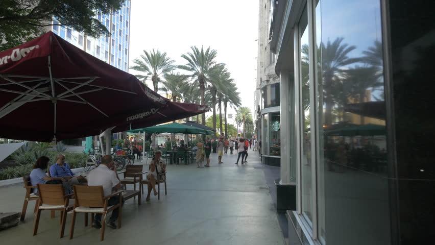 Miami, United States - July, 2016: The Starbucks Coffee on Lincoln Road Mall, Miami Beach   Shutterstock HD Video #1015239964