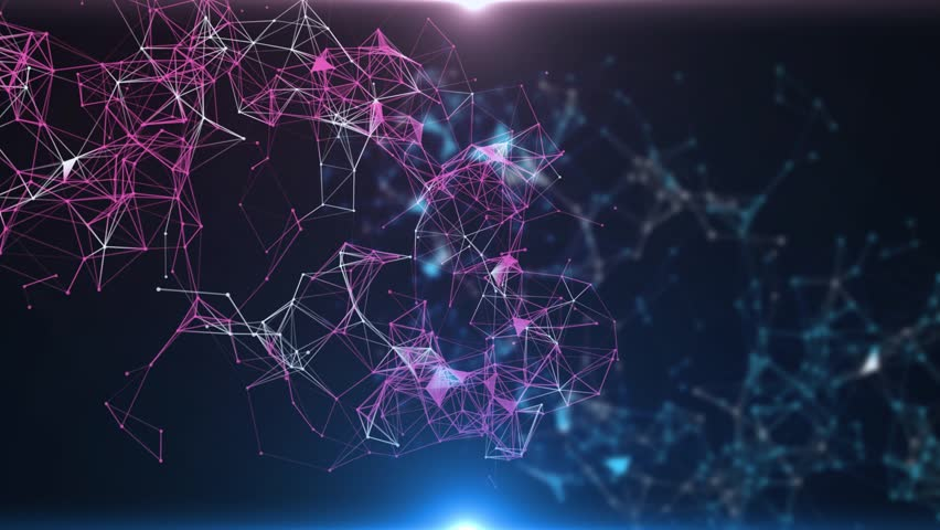 Plexus of abstract blue geometrical lines with moving triangles and dots. Loop animations. | Shutterstock HD Video #1015244074