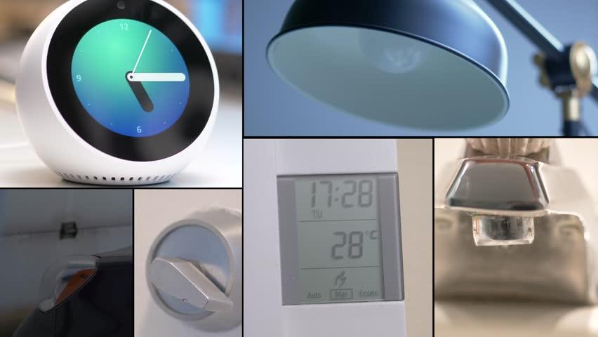 MONTREAL, CANADA - August 2018 : Video montage of Amazon Echo Alexa Spot controlling different aspect of a house such as : lights, door lock, garage door opener, temperature, water..