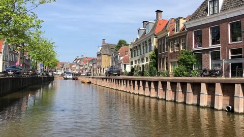 Canal in Harlingen, Friesland, The Netherlands