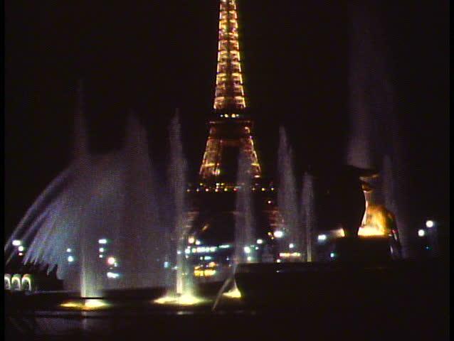 PARIS, FRANCE, 1988, Paris by night, The Eiffel Tower, fountains, full moon