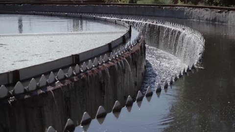 Close-up of reservoir of sedimentation tank at sewage treatment plants in the summer, in the afternoon