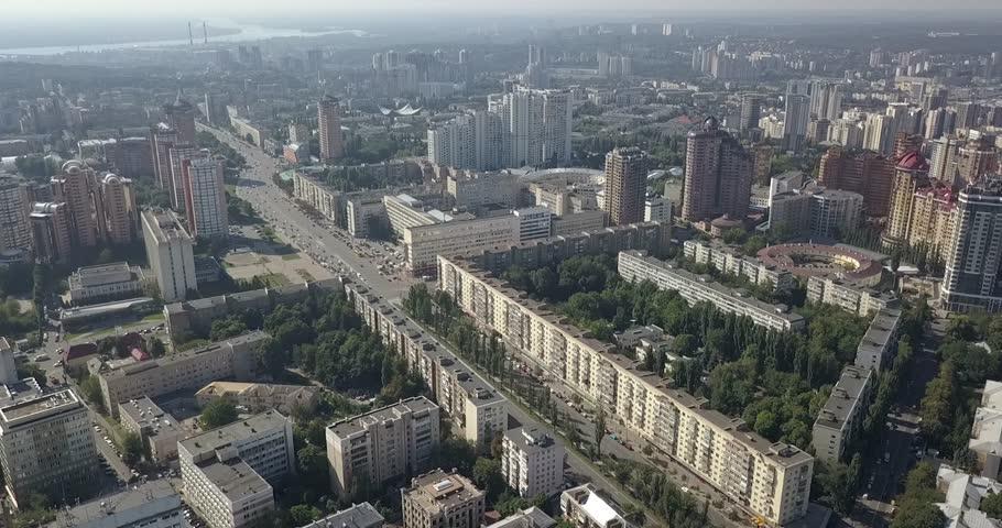 Aerial city view modern city construction and development Kiev | Shutterstock HD Video #1015297264