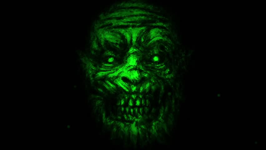 Scary zombie face on black background. Animation in genre of horror. Green monster character face.