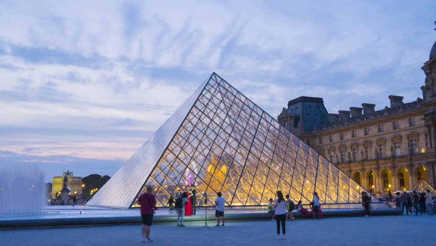 France, PARIS - August, 20-,2018. Timelapse of Louvre pyramid, Louvre Museum is the most famous and most visited museum of the world. | Shutterstock HD Video #1015427134