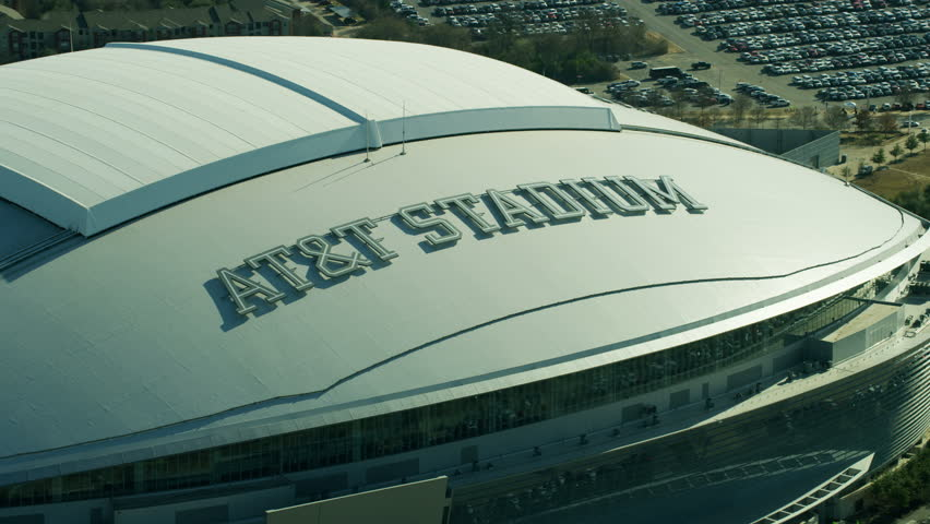 Dallas - March 2018: Aerial of the downtown Dallas AT&T NFL football Stadium formally known as the Cowboy Stadium Texas America RED WEAPON