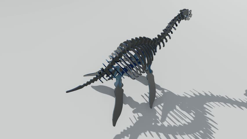 3d illustration of a dinosaur skeleton on white background.