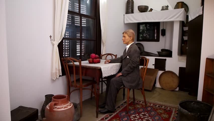 Thessaloniki, Greece - July 2017: Wax sculpture of young Mustafa Kemal Atatürk (12-13 years old) at Atatürk's House Museum in Thessaloniki. | Shutterstock HD Video #1015459654