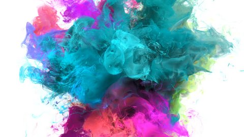 Color Burst - colorful cyan magenta pink smoke explosion fluid gas ink particles slow motion alpha matte isolated on white
