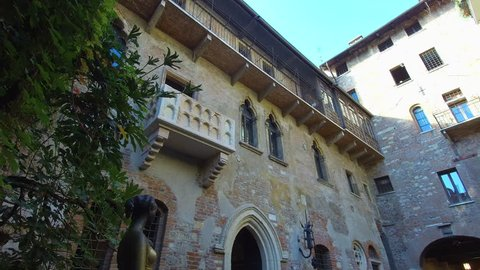 Verona ITALY Circa August/2018 - Romeo and Juliet - Juliet's house is a 13th century building, features the balcony where Romeo promised his beloved Juliet eternal love in Shakespeare's famous tragedy