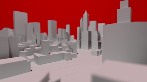 A model of the city of New York. The camera flies between the buildings and rises slightly upward so that the entire city can be seen. 3d rendering.