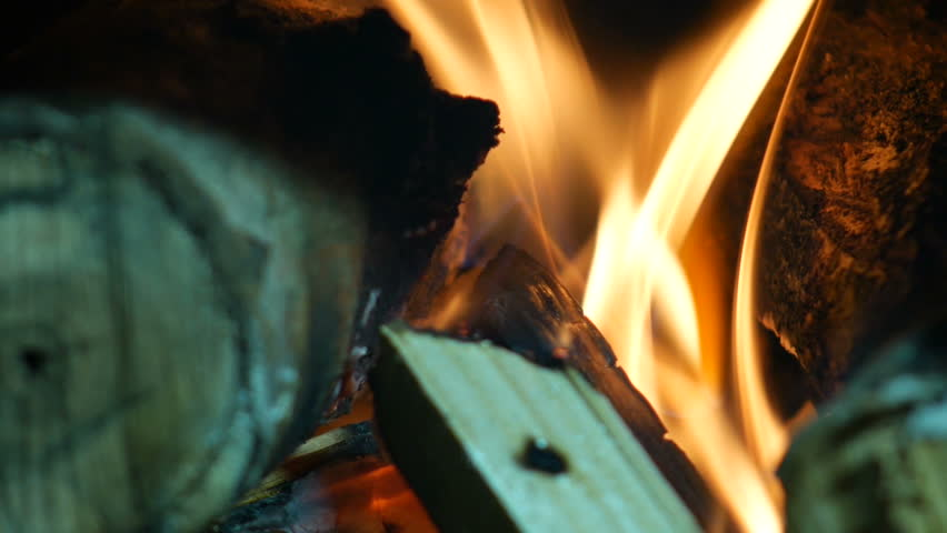3 in 1 Fire - Hot Burning wood in  Fireplace