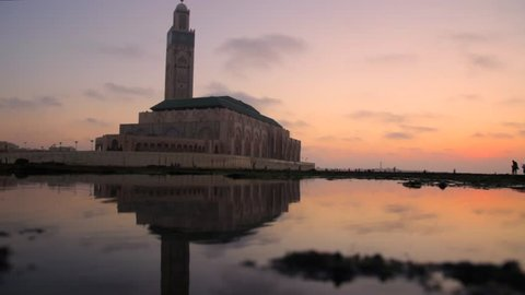 Casablanca, Morocco - 25 august 2018 : motion picture of Hassan II mosque