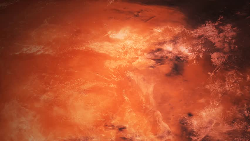 4k Mars Planet Surface Sequences Loop/ Animation of a realistic flight over mars planet surface, with cool camera transitions and lens flare effect