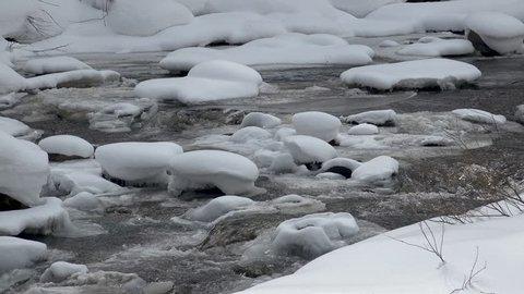 Frozen river in the midwinter. Hakuba village in Nagano prefecture Japan