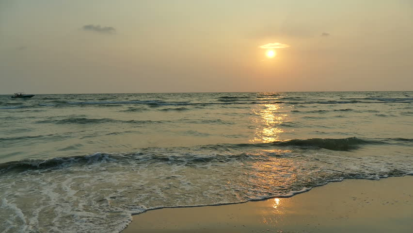 Beautiful tropical beach and sea landscape at sunset time  | Shutterstock HD Video #1015684324