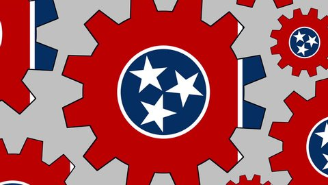 Tennessee flag gears rotating background zooming out