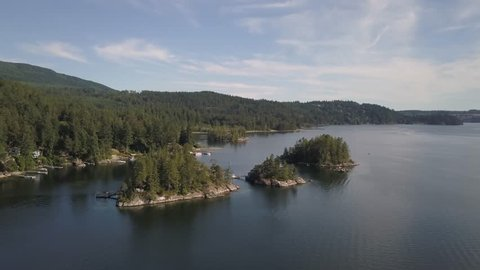 Aerial view of Sechelt Inlet during a sunny summer day. Located in Sunshine Coast, BC, Canada.