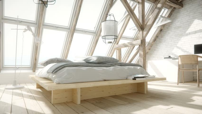 Scandinavian Style Loft Bedroom Interior