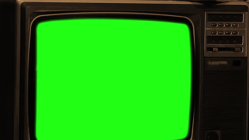 "80s TV With Green Screen. Sepia Tone. Zoom Out Deep. Ready to Replace Green Screen with any Footage or Picture you Want. You Can Do It With ""Keying"" (Chroma Key) Effect. Full HD. 