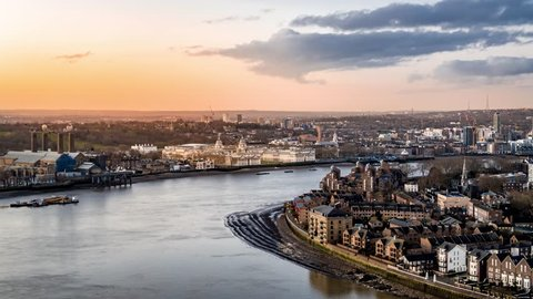 Aerial View of University of Greenwich, Southbank of the River Thames, Greenwich Peninsula, London, United Kingdom