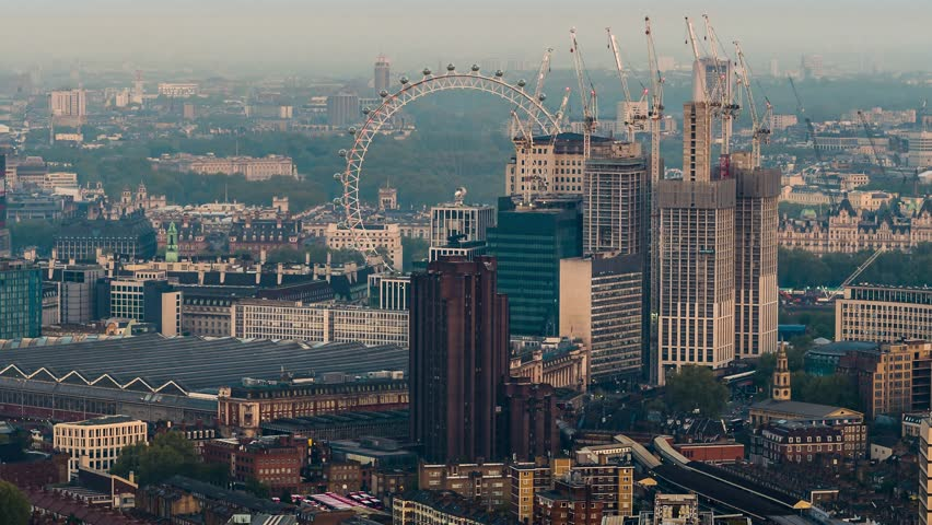 Aerial View of London Eye and Waterloo Station, London, United Kingdom | Shutterstock HD Video #1015781764