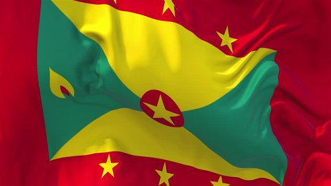 79. Grenada Flag Waving in Wind Slow Motion Animation . 4K Realistic Fabric Texture Flag Smooth Blowing on a windy day Continuous Seamless Loop Background.