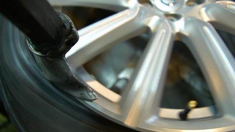 Vulcanization Closeup Video. Vulcanizer Equipment Closeup. Tire Removal