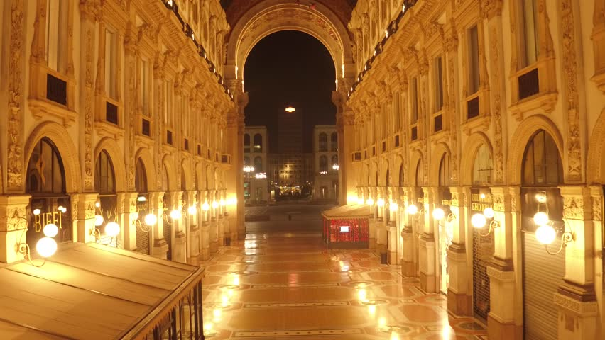 Aerial footage drone view Gallery Vittorio Emanuele in MIlan shopping italy during night  // no video editing | Shutterstock HD Video #1015895164