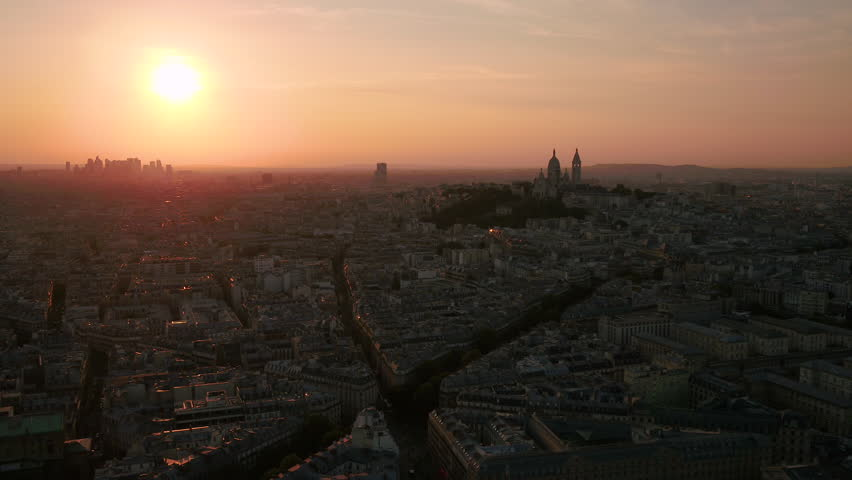 Aerial France Paris Sacre Coeur Basilica August 2018 Sunset 30mm 4K Inspire 2 Prores  Aerial video of the Sacre Coeur Basilica in Paris France with a beautiful sunset. | Shutterstock HD Video #1015903204