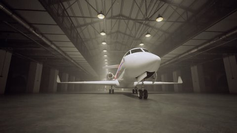 Animation of a private jet standing in the hangar. Lights gradually turning on.