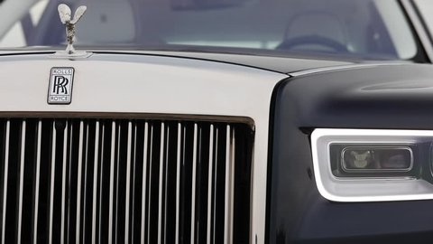 2018-09-04, Riga, Latvia: NEW Rolls Royce Phantom 2018 model. Editorial video. Spirit of Ecstasy and front part of a car.