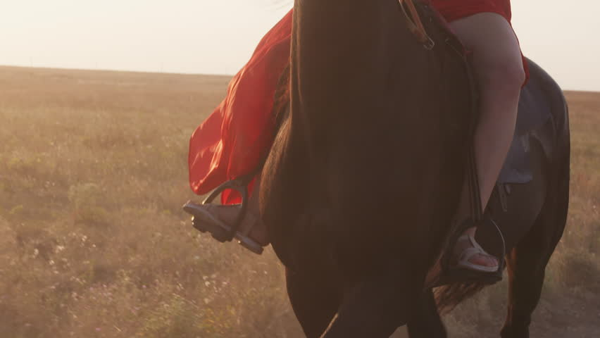Young girl rider in red dress riding black horse in the evening
