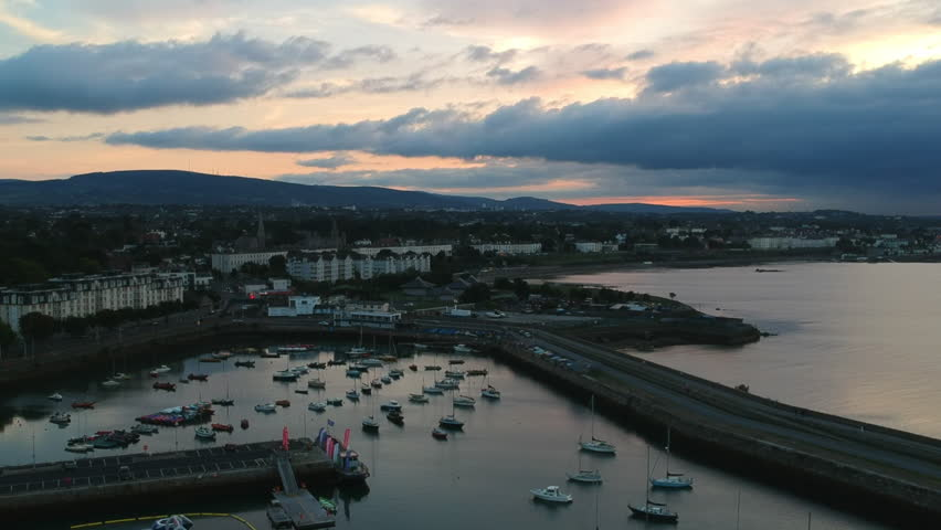 Dun Laoghaire at Sunset, Dublin, Ireland Drone Video | Shutterstock HD Video #1016004544