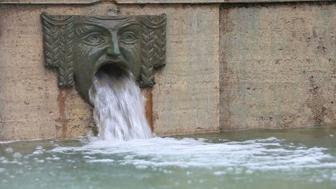 Detail Of The Fountain In De Ferrari Square, Genoa, Italy