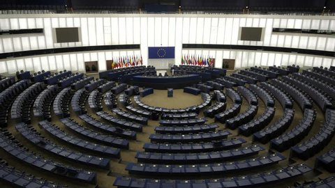 Strasbourg France August 2018 European Parliament Strasbourg hemicycle. Completed in 1999 this is where the elected representative vote the decisions that will be carried forward by the European Union