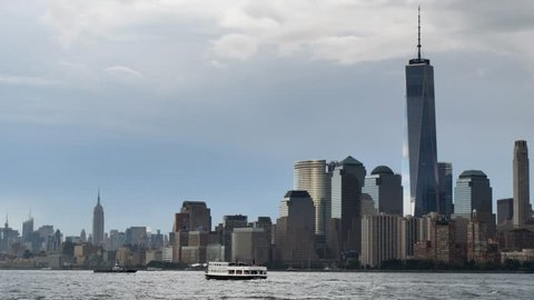 NEW YORK CITY - CIRCA 2018: World Trade Center New York city skyline 9/11 Patriot Day background