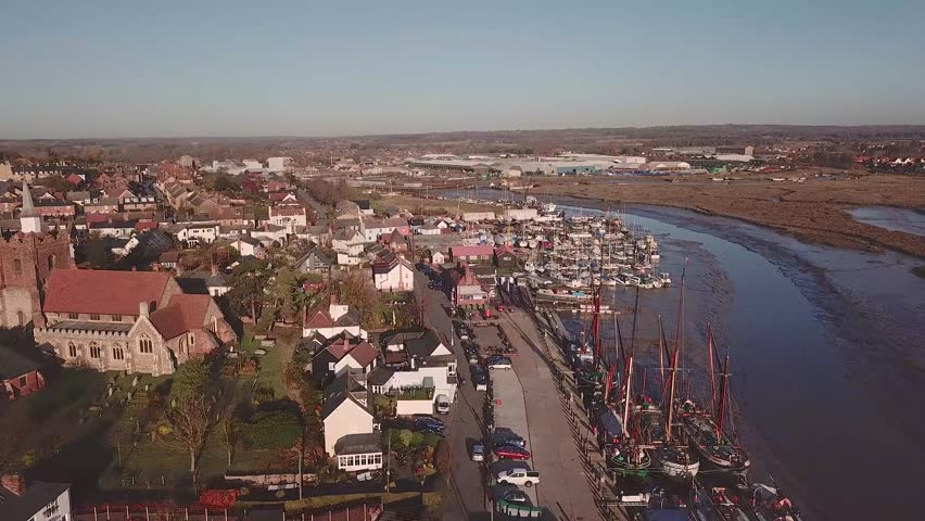Drone footage flying over Maldon Promenade park in Essex.