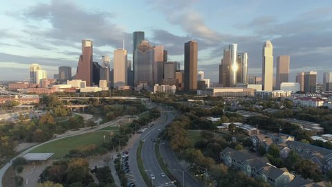 This video is of an aerial view of downtown Houston skyline. This video was filmed in 4k for best image quality.