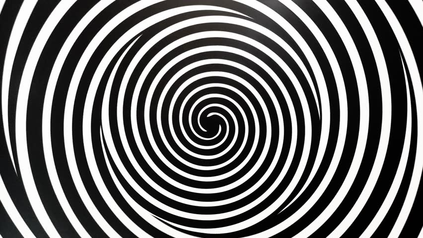 Black and white spinning spirals. Hypnosis make video.t