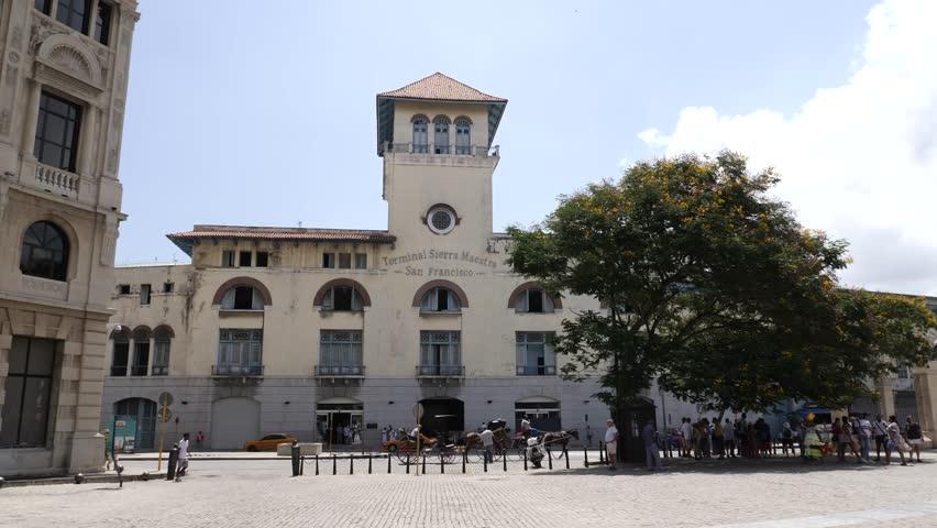 Havana / Cuba - August 26 2018: Plaza Vieja Old Square is located in Old Havana, Cuba  (La Habana Vieja)