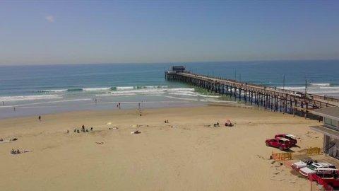 Newport Beach, California / United States - 04 08 2018: Drone Shot of Newport Beach Pier, California.