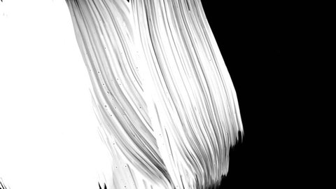 Realistic FullScreen Paint Brush White Luma matte Transition on black background with many diagonal strokes.