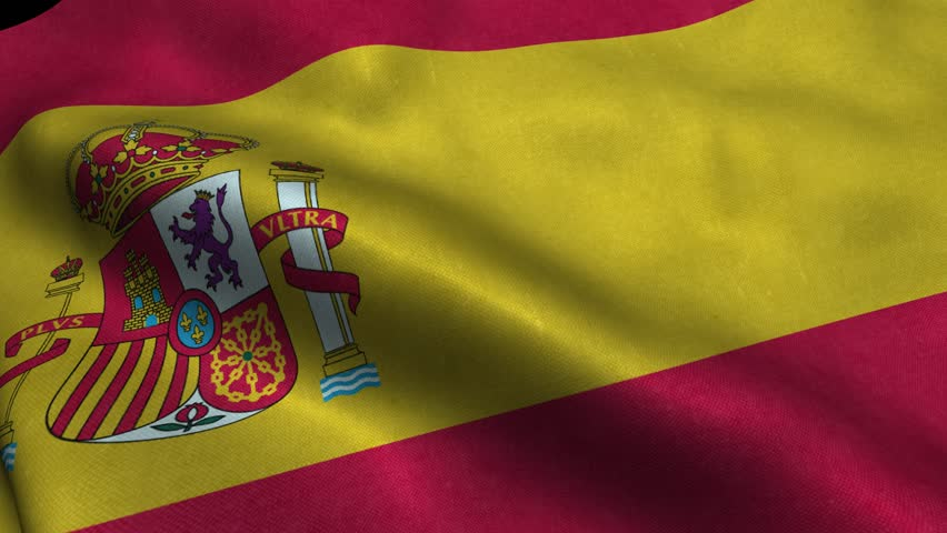 Photorealistic 4k Close up of spain flag slow waving with visible wrinkles and realistic fabric. A fully digital rendering, 3D Animation. 15 seconds 4K, Ultra HD resolution spain flag animation.