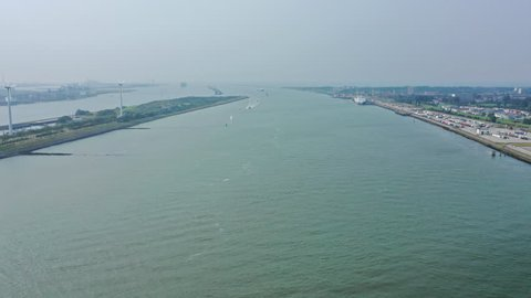 Aerial Timelapse of Ships, Ferries and Vessels Using the Port of Canals