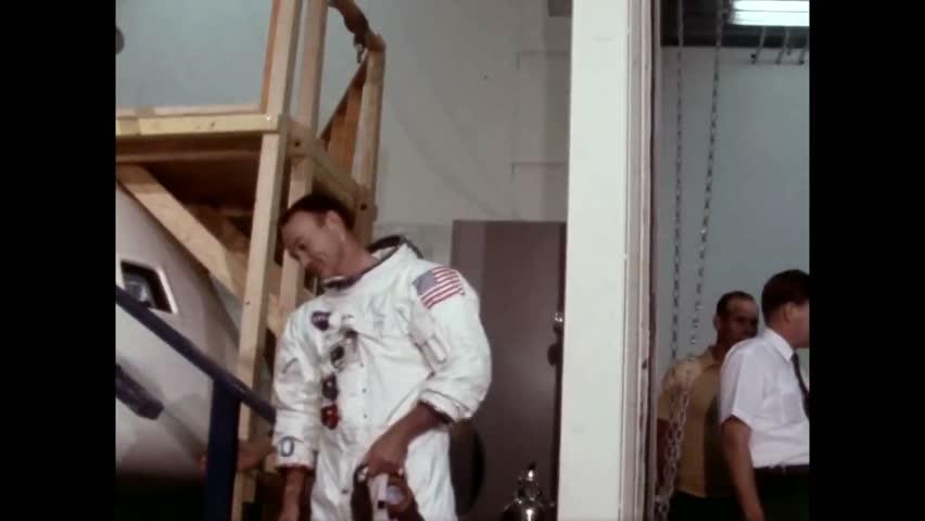 CIRCA 1969 - Michael Collins dons his gear and boards Apollo 11.
