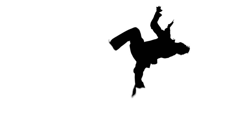 Young fit man jumping, high kick and fist punch, Isolated on white background, naked torso, a black belt, Silhouette, Slow motion. raising the legs, different elements | Shutterstock HD Video #10162817